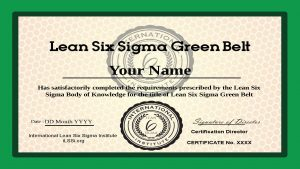 International Lean Six Sigma Accredited Green Belt Certification