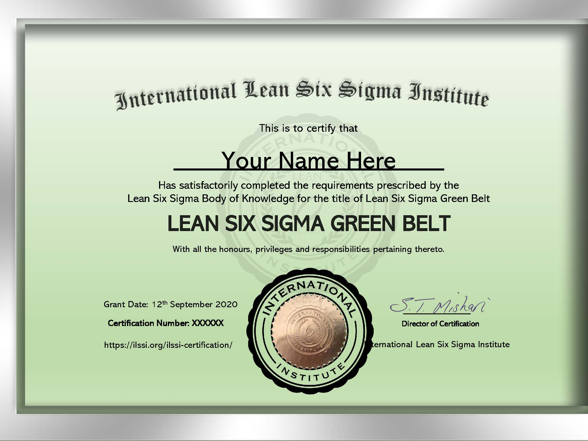 Lean Six Sigma Training ILSSI Green Belt